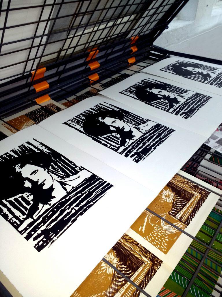 David Bowie Original Handmade Linocut Print Portrait
