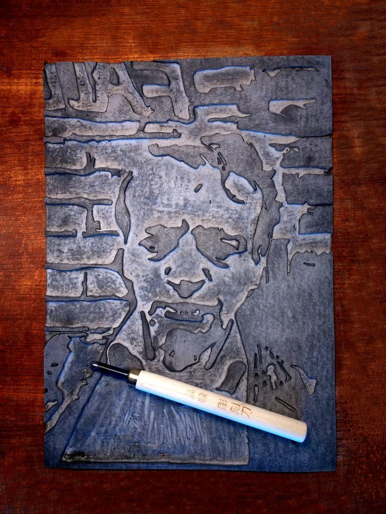 Mark E Smith Original Handmade Linocut Print Portrait