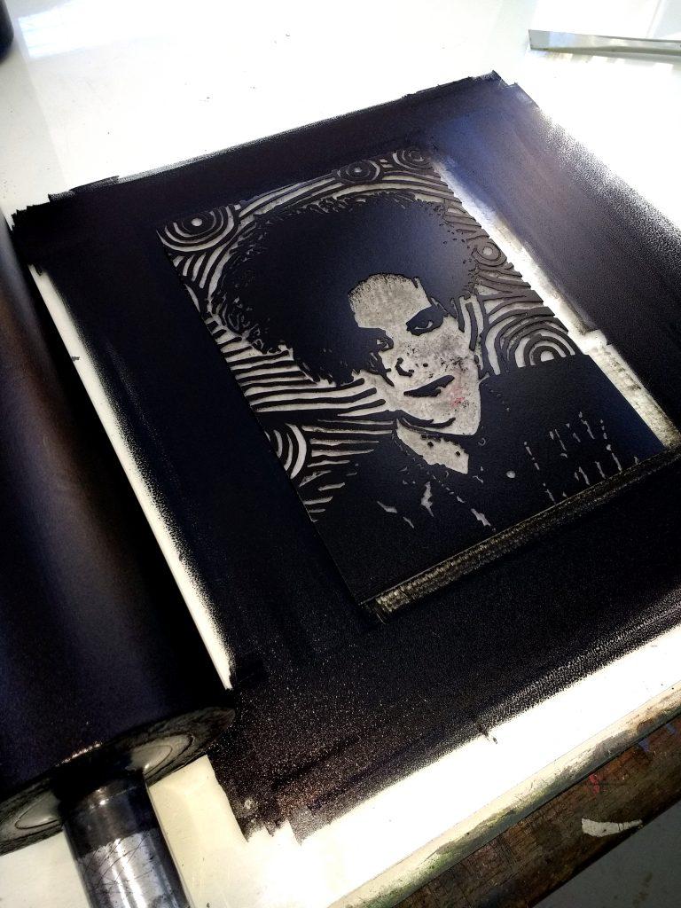 Robert Smith Original Handmade Linocut Print Portrait