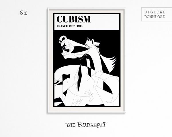 cubism printable art poster