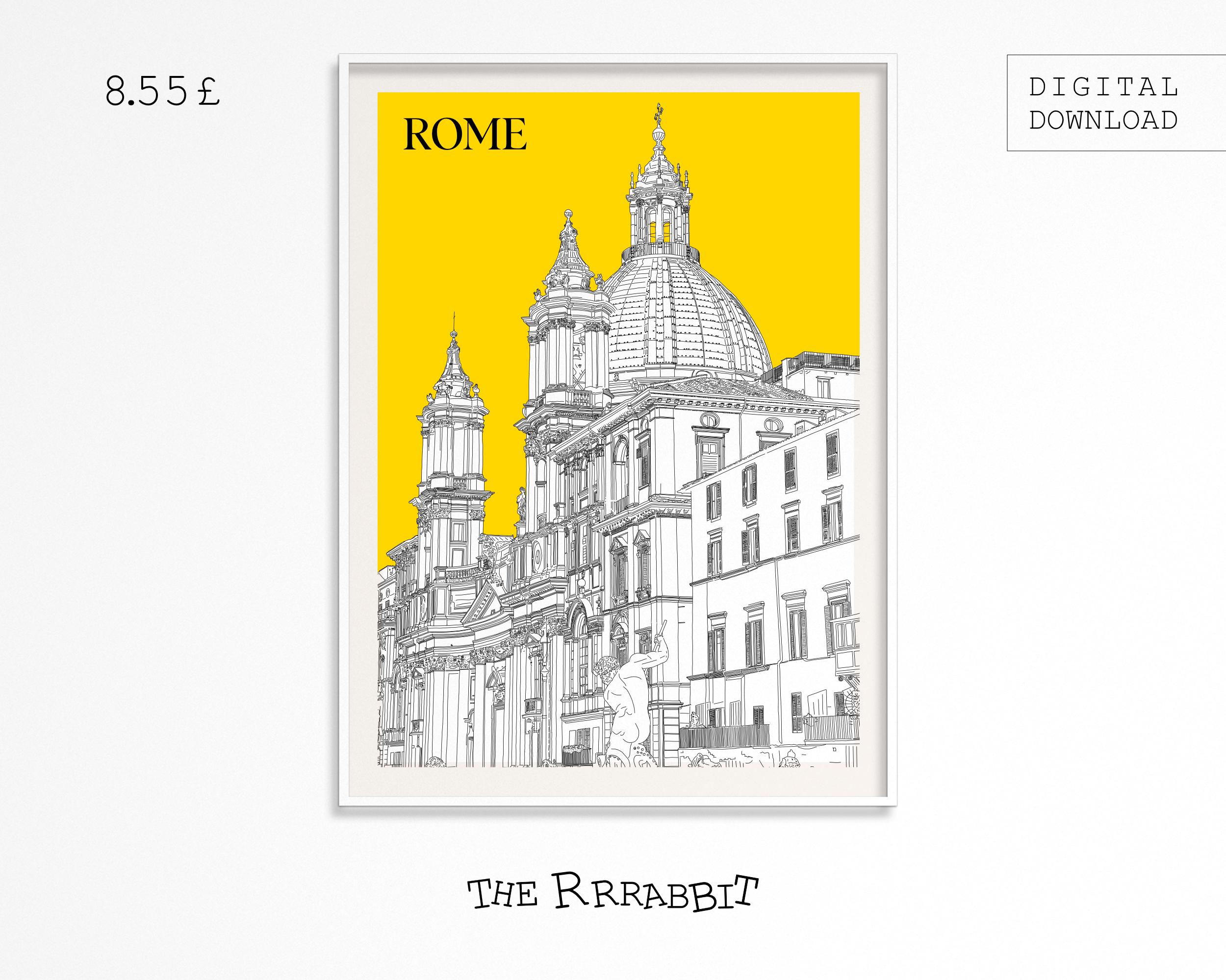 Rome Printable art poster yellow wall